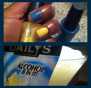 Nails and Cocktails™: NYC Water Street Blue and Lexington Yellow With Daily's Frozen Lemonade