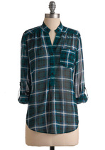Luxetips Style! Modcloth Living Room Lodging Plaid Sheer Shirt