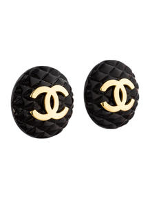 Luxetips Vintage! Chanel Gold Tone Interlocking C's Clip On Earrings