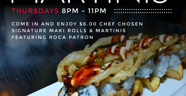 Luxetips Events! Enjoy $6 Maki Sushi Rolls & Martinis Every Thursday @Red Martini